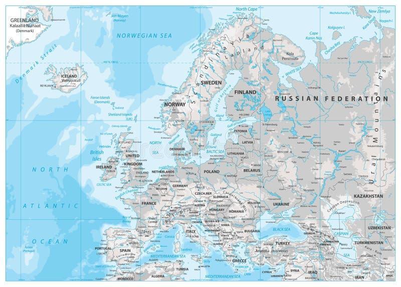 Europa Fizyczna mapa Biel i szarość royalty ilustracja