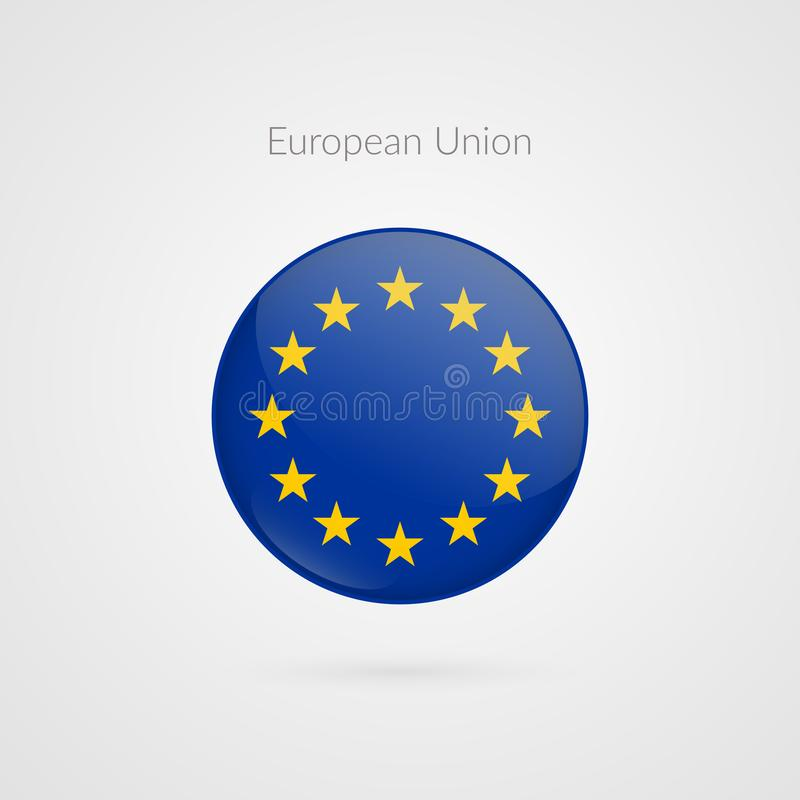 Europa flaga wektoru znak Odosobniony Europejskiego zjednoczenia okręgu guzika symvol UE ilustraci ikona ilustracji