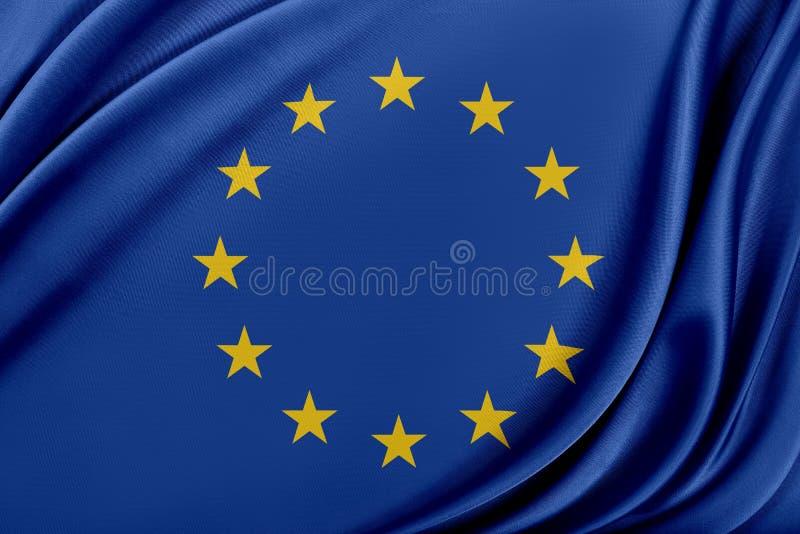 Europa flagga med en glansig siden- textur vektor illustrationer