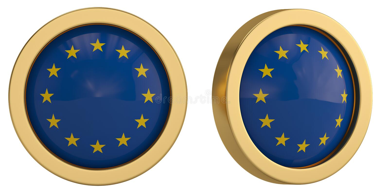 Europa flaggasymbol som isoleras på vit bakgrund illustration 3d vektor illustrationer