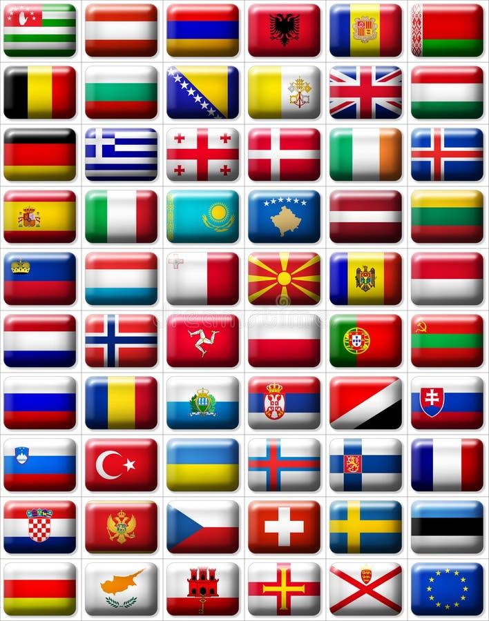Europa flaggor vektor illustrationer