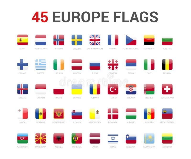 Europa flaggor av landet flagga 45 rundade fyrkantiga symboler vektor illustrationer