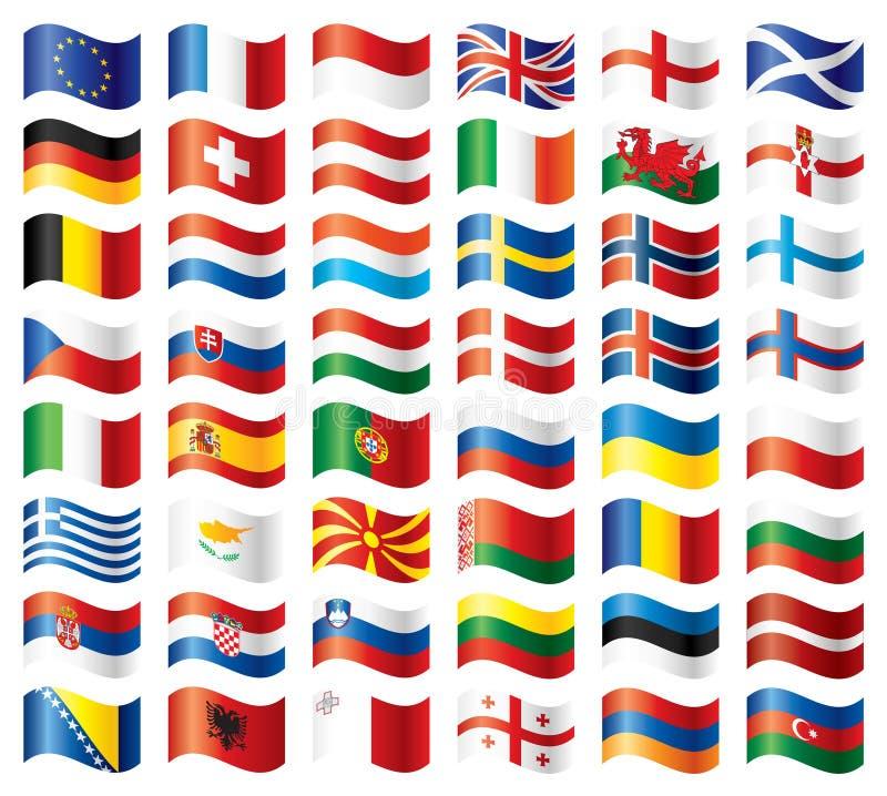 Europa flaggor ställde in wavy stock illustrationer