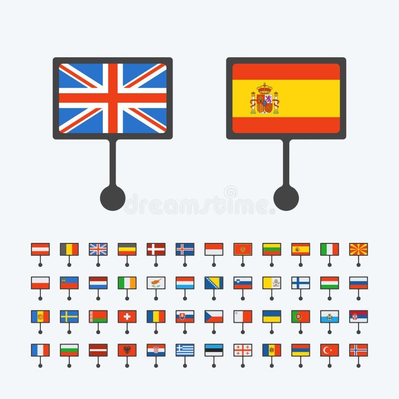 Europa flaggor, uppsättning av vektorlägenhetsymboler stock illustrationer