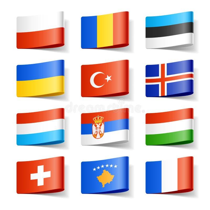 Europa flags världen royaltyfri illustrationer