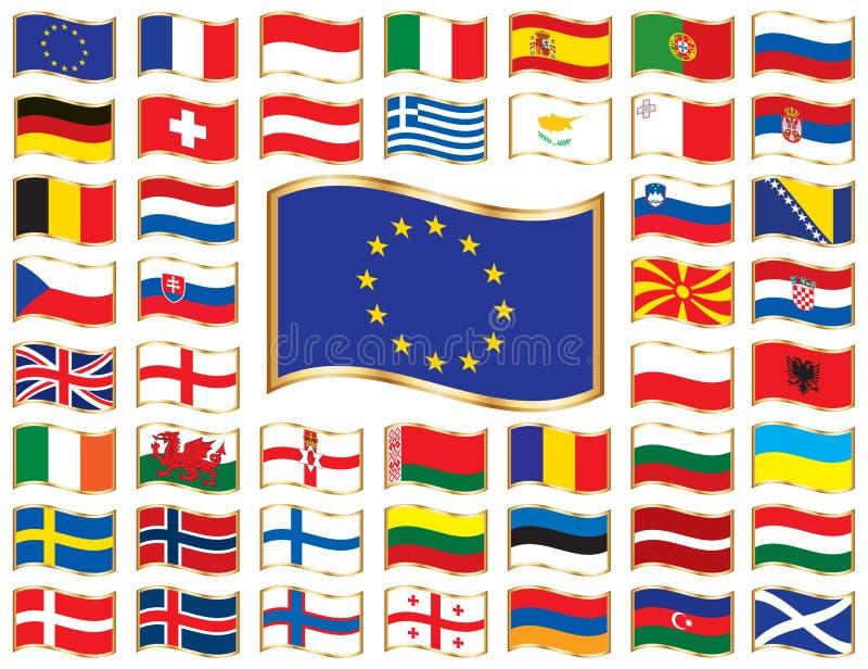 Europa flags wavy ramguld vektor illustrationer