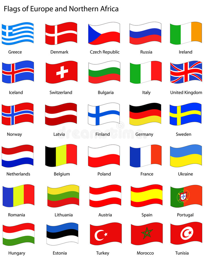 Europa flags wavy stil vektor illustrationer