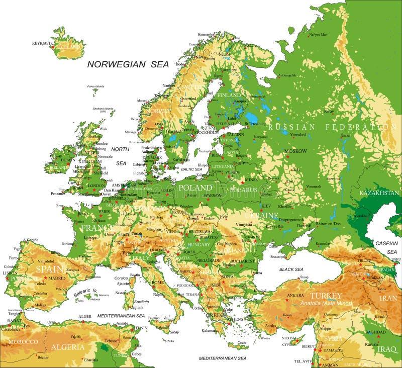 Europa - fysisk översikt royaltyfri illustrationer