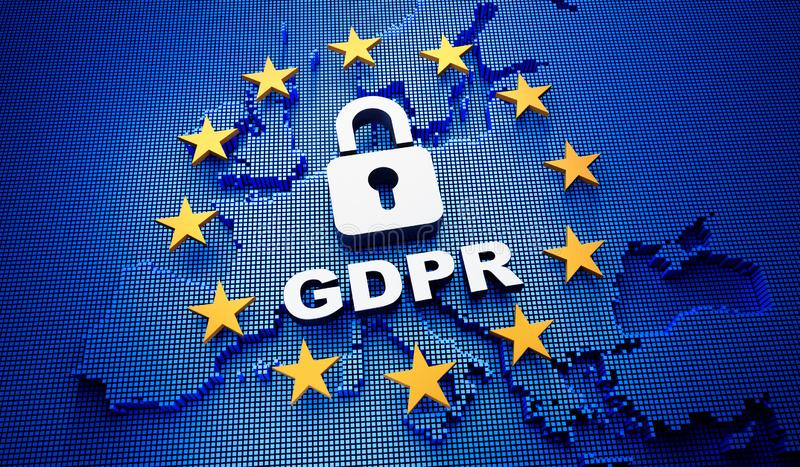 Europa GDPR błękitny tło - 3D ilustracja royalty ilustracja