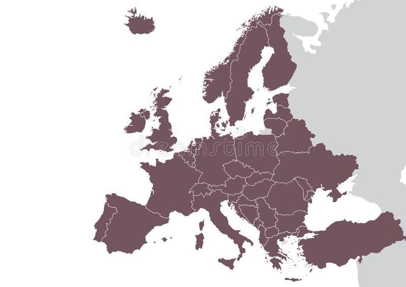 Europa gedetailleerde kaart royalty-vrije illustratie