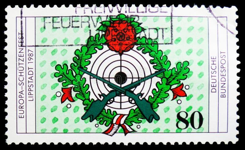 Europa - het meest tzenfest Schà ¼ beschermt, Zevende Europese Riflemen Festival, Lippstadt serie, circa 1987 royalty-vrije stock foto