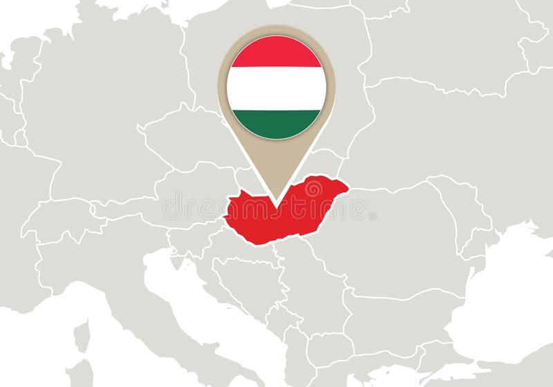 Europa hungary översikt stock illustrationer