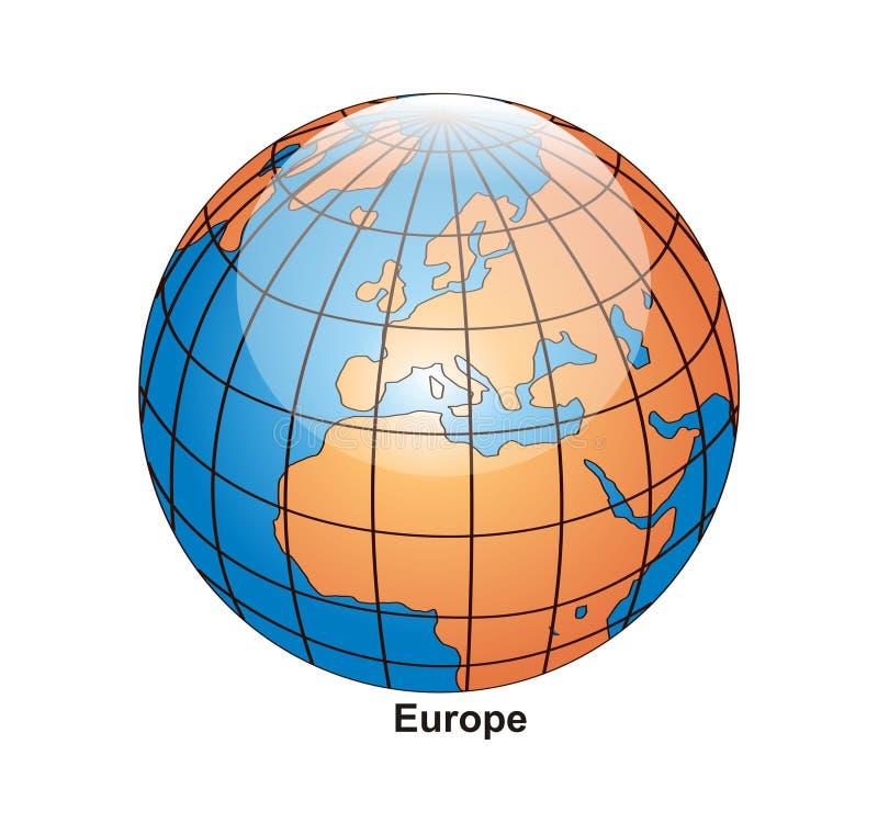 Europa jordklotvektor vektor illustrationer