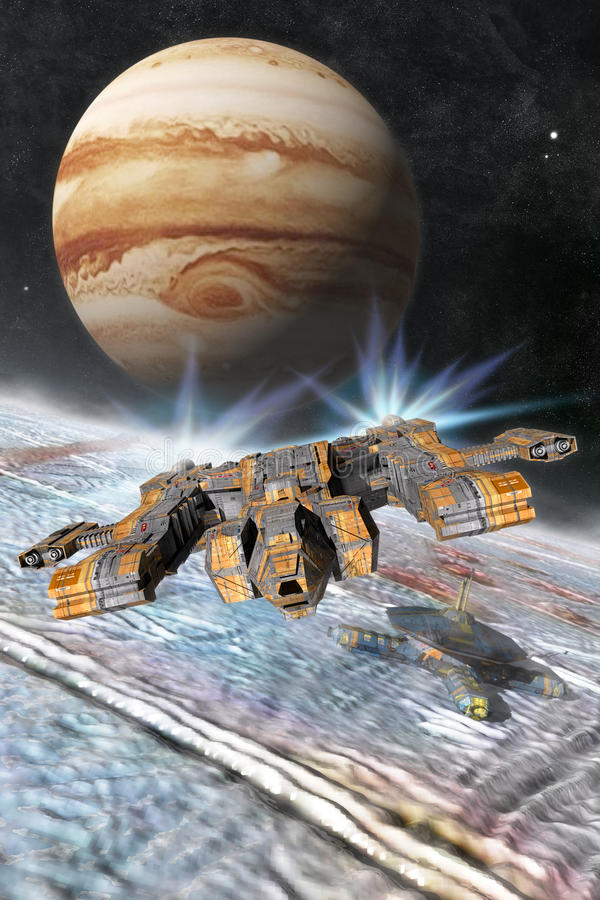 Europa Jupiter Moon Base ilustração do vetor