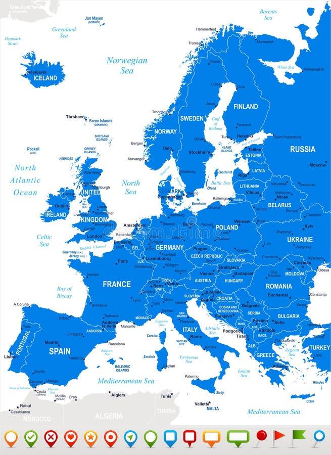 Europa - kaart en navigatiepictogrammen - illustratie stock illustratie
