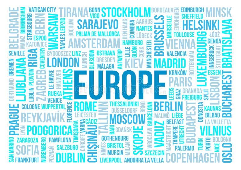 Europa, kapitały kraje i inni miast słowa chmurnieje tło ilustracji