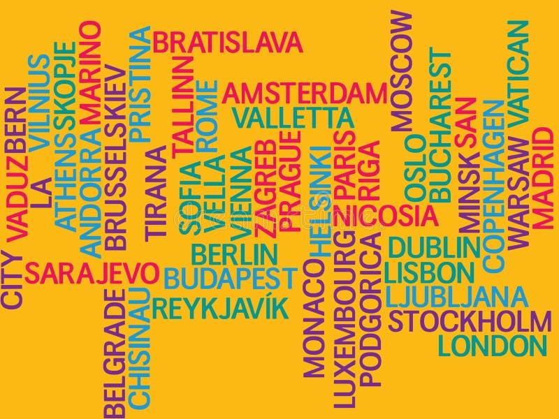 Europa, kapitalen van landen en andere stedenwoorden betrekt achtergrond stock illustratie