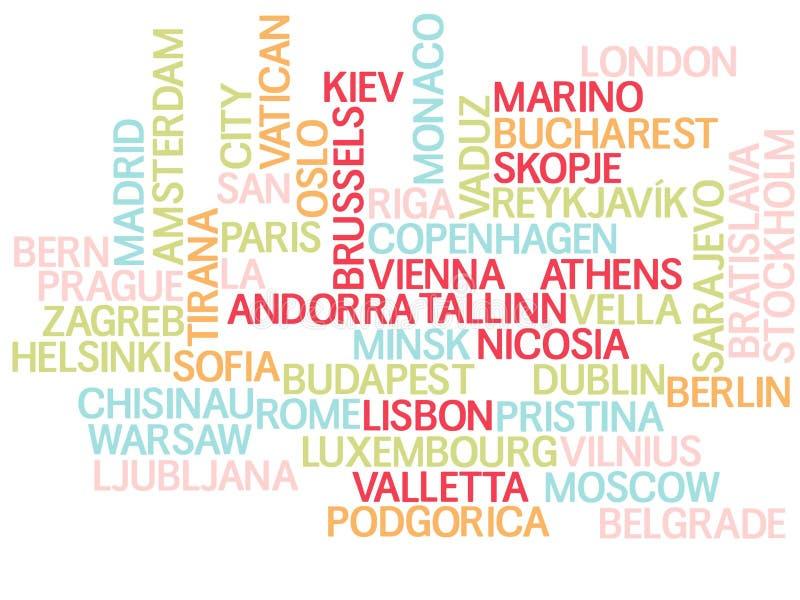 Europa, kapitalen van landen en andere stedenwoorden betrekt achtergrond vector illustratie