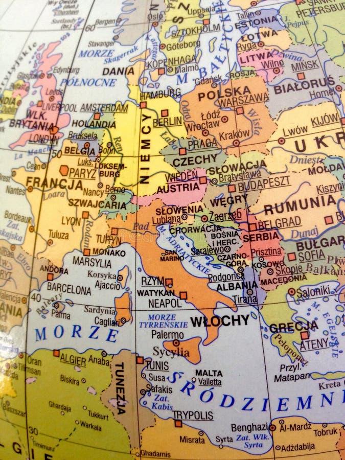 Europa-Karte in der polnischen Sprache atlas lizenzfreie stockfotos