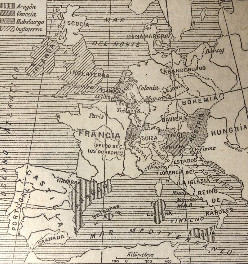 Europa-Karte des 15. Jahrhunderts stockbilder