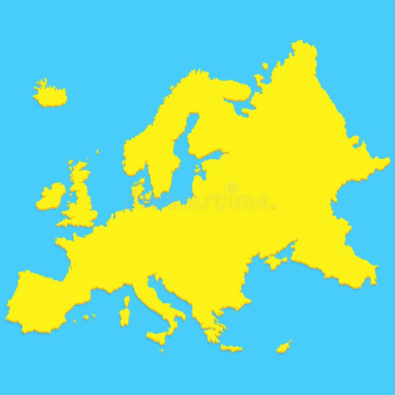 Europa-Kartenschattenbild in der modernen minimalen Art vektor abbildung