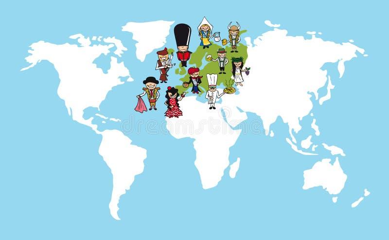 Europa kreskówek światowej mapy różnorodności illustr ludzie