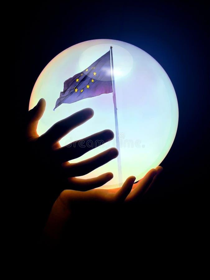 Europa-in-kristal-bal stock foto's