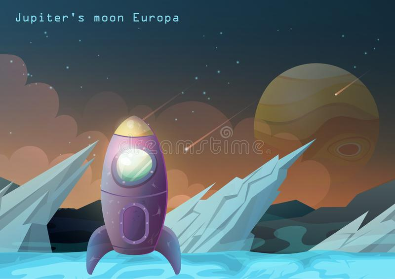 Europa księżyc, Jupiter satelita z astronautycznym statkiem ilustracji