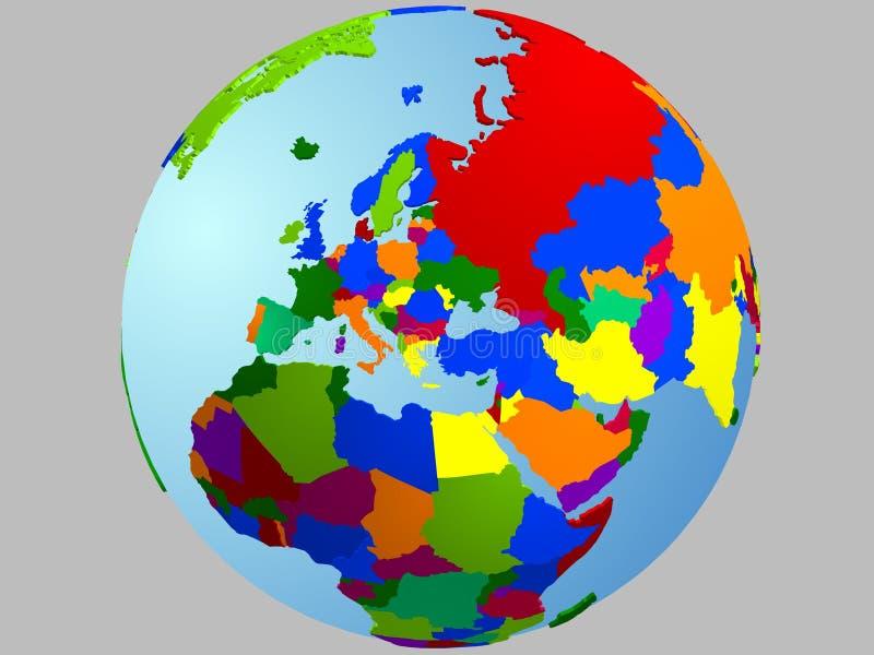 Europa-Kugelkarte lizenzfreie abbildung