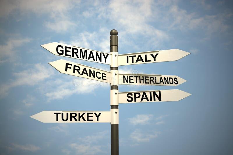 Europa länder och vägvisare mot blå himmel stock illustrationer
