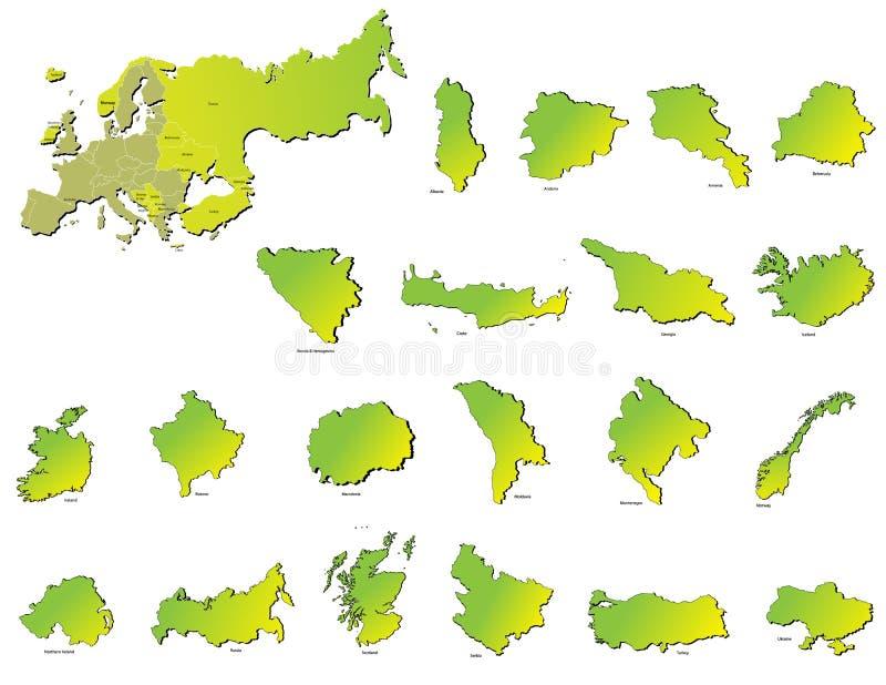 Europa landsöversikter vektor illustrationer