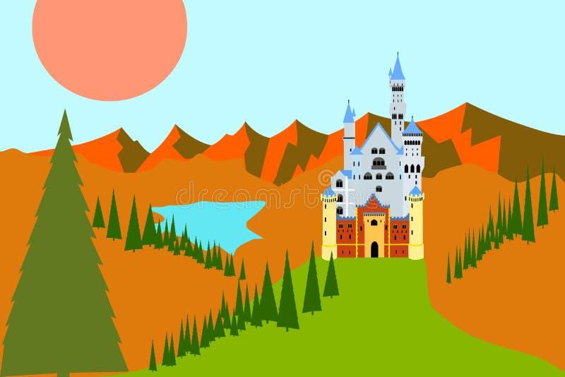 Europa landskap med slotten på kullen royaltyfri illustrationer