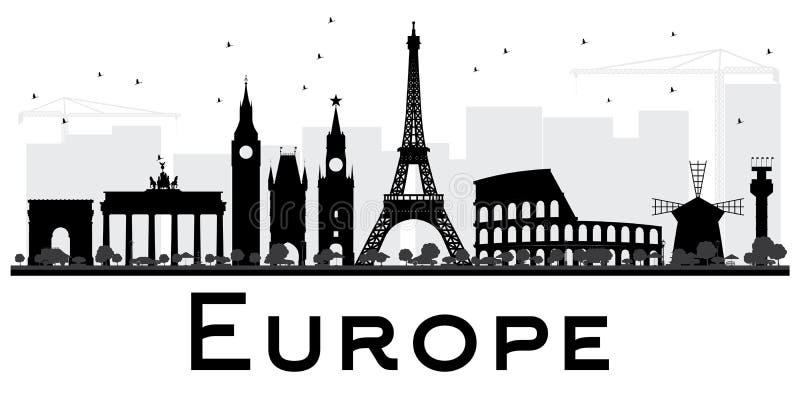 Europa linii horyzontu sylwetka z punktami zwrotnymi