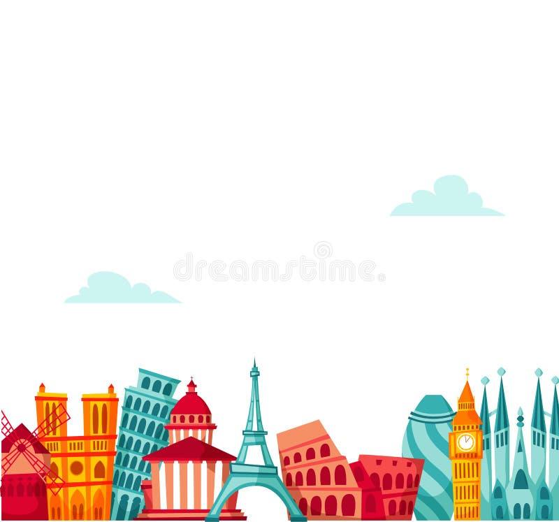 Europa loppbakgrund vektor illustrationer