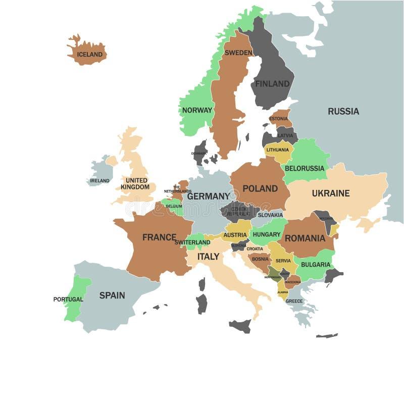 Europa - mapa político da cor de Europa ilustração do vetor
