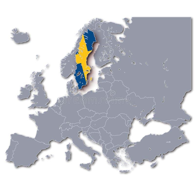 Europa mapa z Szwecja ilustracji