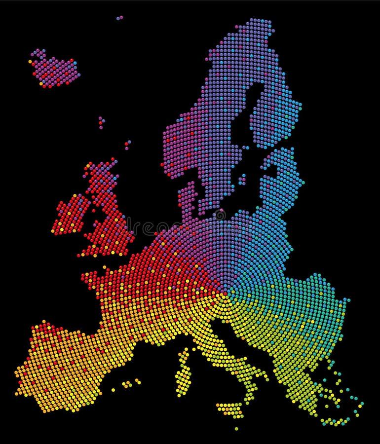 Europa mapy Deseniowych Kolorowych piłek tęcza Barwiący Czarny tło ilustracji