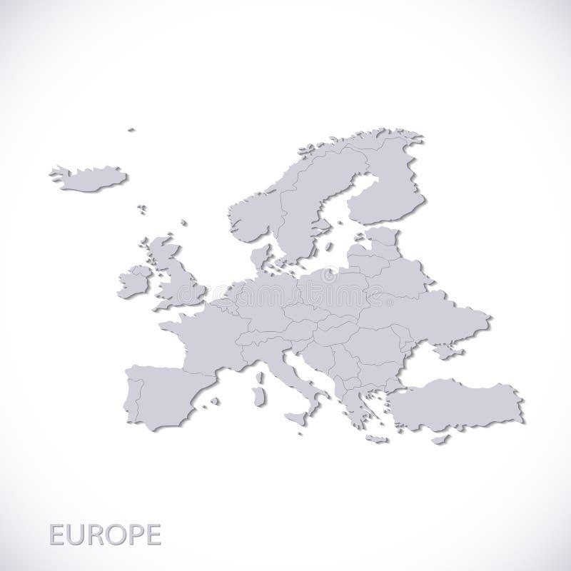 Europa mapy szarość Wektorowy polityczny z stanem ilustracja wektor