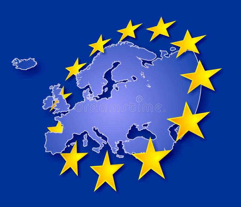 Europa met sterren royalty-vrije illustratie