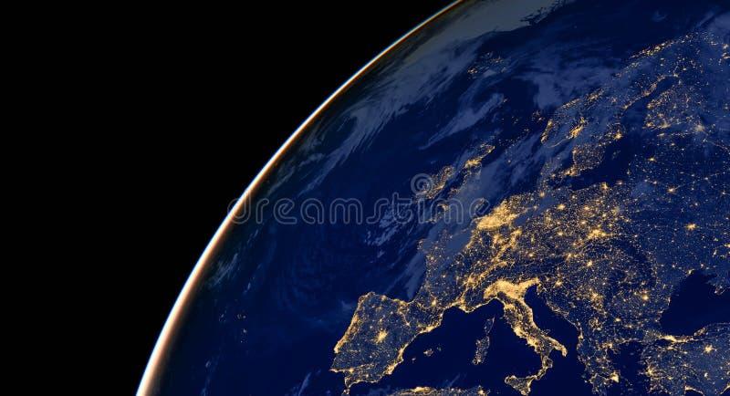 Europa miasta światła na światowej mapie europejczycy Elementy ten wizerunek meblują NASA fotografia stock