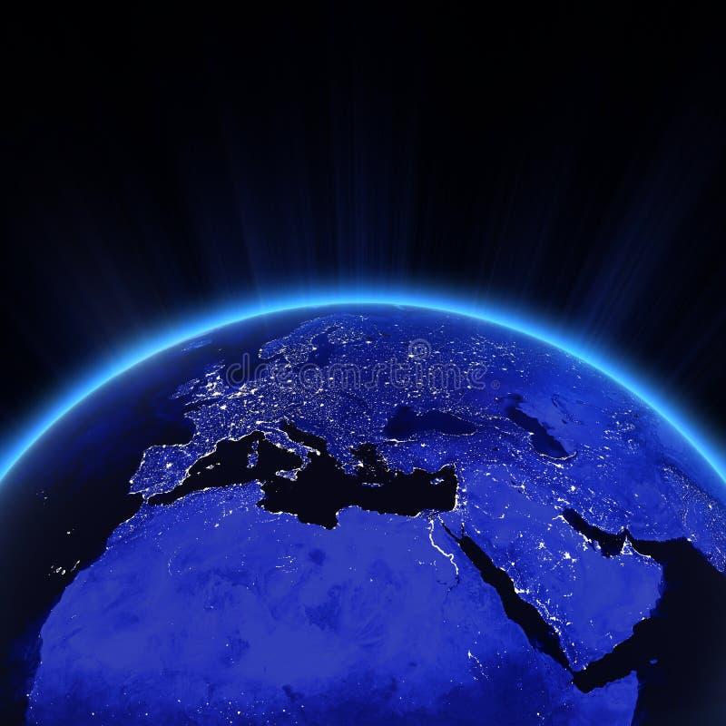 Europa miasta światła przy nocą ilustracji
