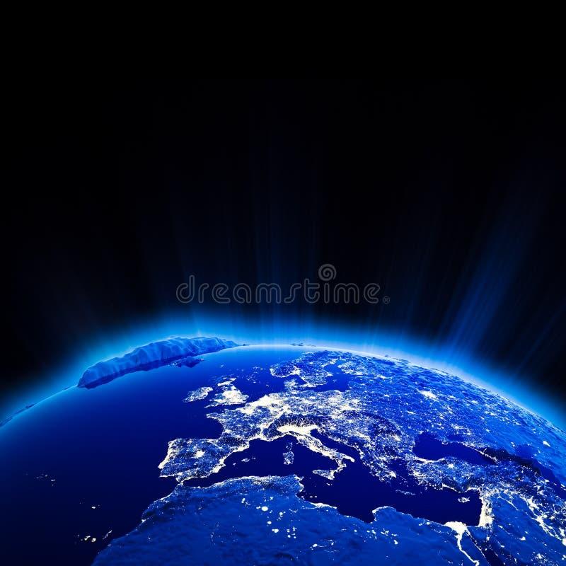 Europa miasta światła przy nocą ilustracja wektor
