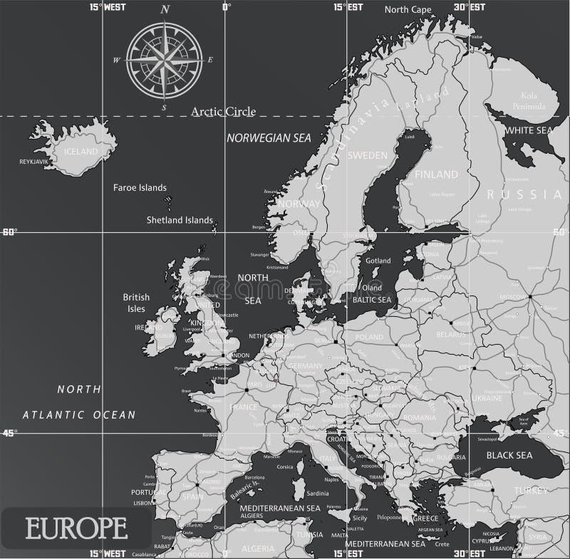 Europa minimalna mapa z ciemnymi kolorami royalty ilustracja