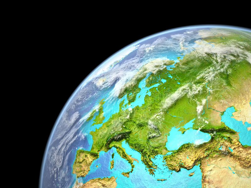 Europa na terra do espaço Detalhe fino mesmo de superfície do planeta, de nuvens realísticas e de chão do oceano visível ilustraç ilustração royalty free