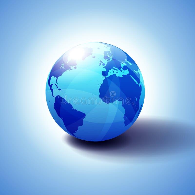 Europa, norte e mundo global de Ámérica do Sul, África, ilustração do ícone 3D do globo, esfera lustrosa, brilhante com o mapa gl ilustração do vetor