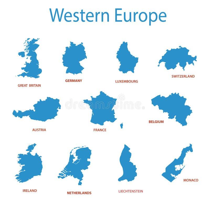 Europa ocidental - mapas dos territórios ilustração stock