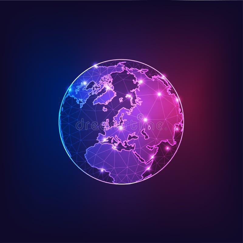 Europa op de mening van de Aardebol van ruimte met continenten schetst abstracte achtergrond vector illustratie