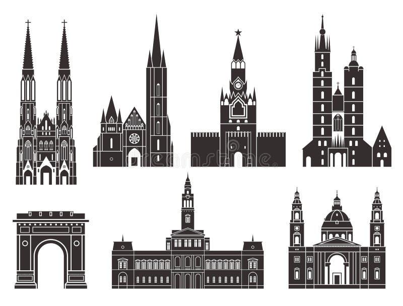 Europa Oriental Construções europeias no fundo branco ilustração royalty free