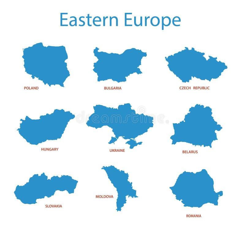 Europa Oriental - mapas dos territórios ilustração stock