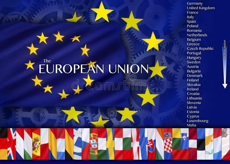 Europa - países y banderas de la unión europea stock de ilustración